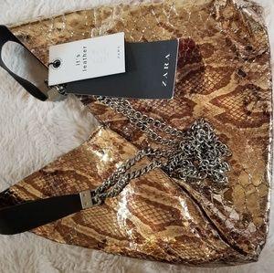 Zara gold faux crocodile skin purse